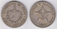 Cuba 5 centavos 1920 p