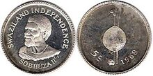 Swaziland 5 cents 1968