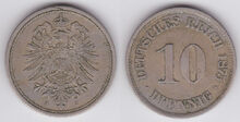 10 pfennige German Empire 1875