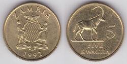 Zambia 5 kwacha 1992 WCG