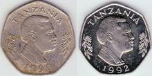Tanzania 20 shillings 1990 vs. 1992