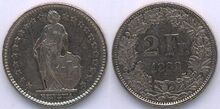 Switzerland 2 francs 1982
