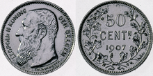 Coin BE 50c Leopold II NL 39