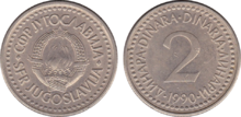 Yugoslavia 2 dinara 1990
