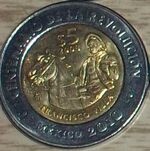 Francisco Villa 5 peso coin 2008