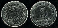 Deutsches Reich 5 pfennig 1917