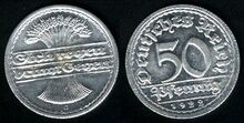 Weimar Republic 50 pfennig