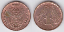South Africa 1 cent 2001