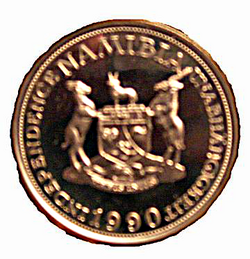 Münze-Namibia-10 Mark-1990-Probe-verso