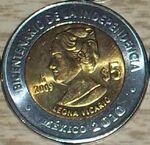 Leona Vicario 5 peso coin 2009