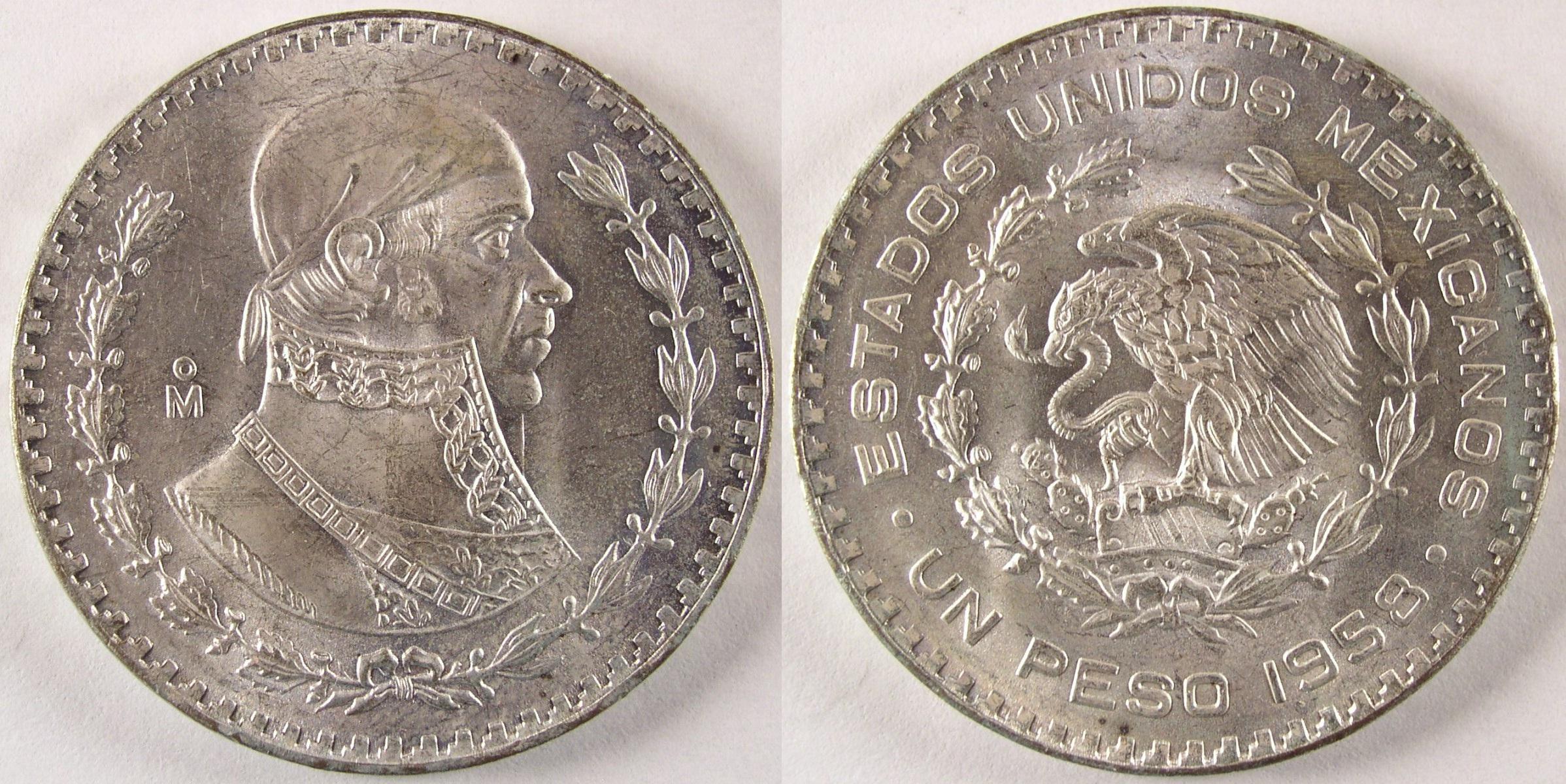 1957 To 1967 Circulated Issue Un Peso 1958 Mexico