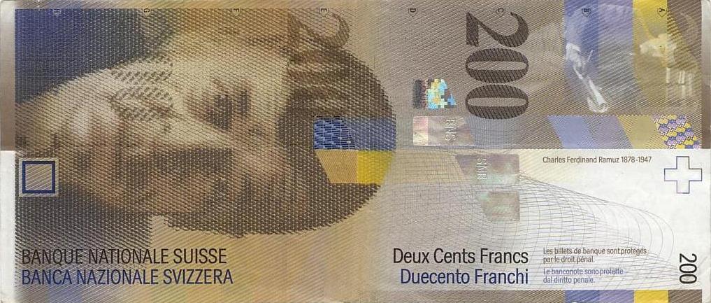 Swiss 200 Franc Banknote