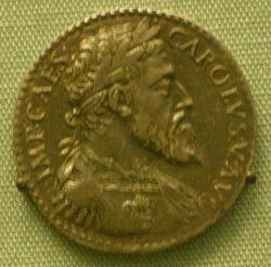 Testone d'argento di carlo V come duca di milano, 1535-56