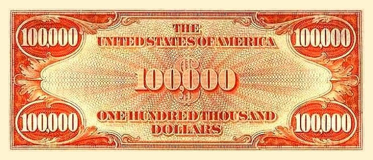 United States 100 000 Dollar Banknote