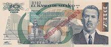 Ten peso note Series B specimen