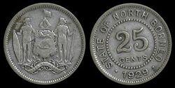 North Borneo 25 cents 1929