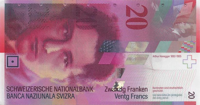 SWISS 20 FRANC BANK NOTE 5th Series
