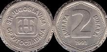 Yugoslavia 2 dinara 1993