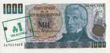 Argentina 1 austral note 1985 obv