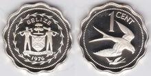 Belize 1 cent 1976 kite silver