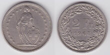 Switzerland 2 francs 1968