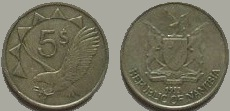 Namibia 5 dollar coin 1993