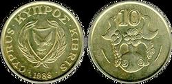 Cyprus 10 cents 1988