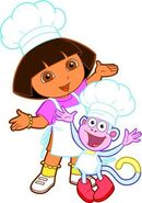 Dora and Boots cooks