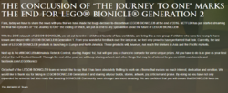 Cancellation of BIONICLE G2