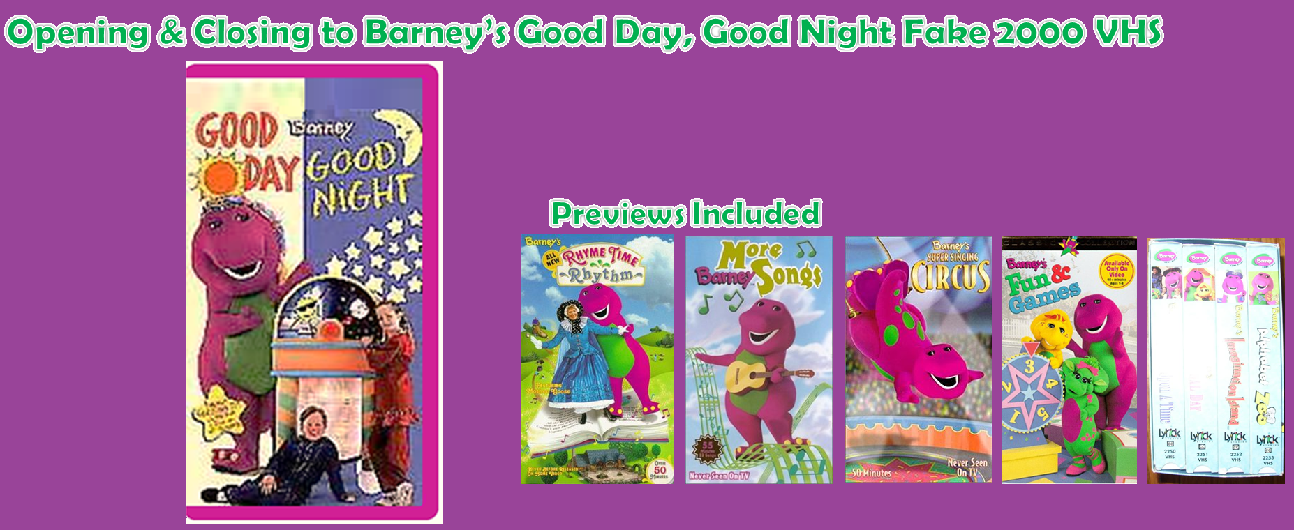 Opening and Closing to Barney\'s Good Day, Good Night 2000 VHS ...