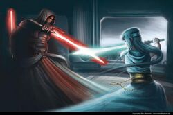 Devis fighting a jedi in future
