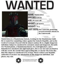 Malek Kryia wanted poster