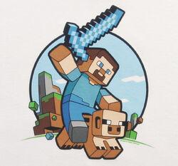 Kids-minecraft-pig-riding-tshirt-logo-hr