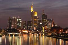 Downtown Frankfurt am Main, Germany; seen from Deutschherrn Bridge