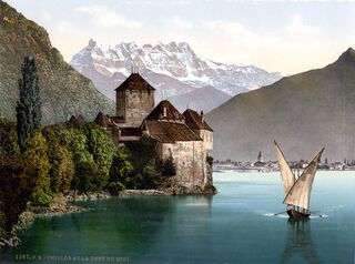 Chateau of Chillon and the Dents du Midi