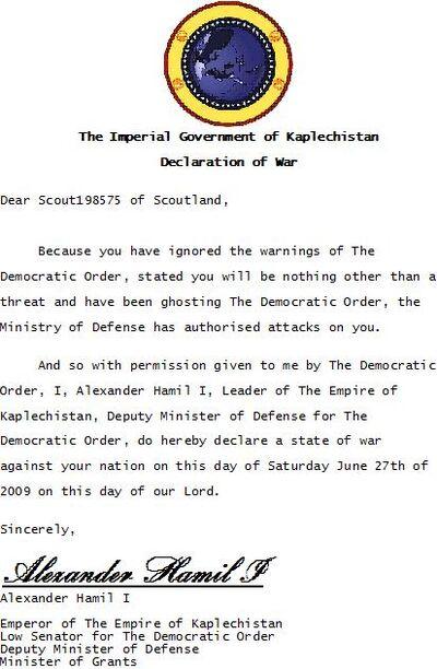 Kaplechistan's First DoW