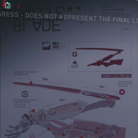 Mantis Blade diagram found in Victor Vector's workplace.