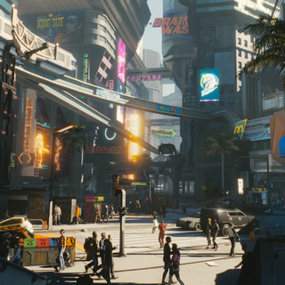 NCPD station(on the right) in Cyberpunk 2077