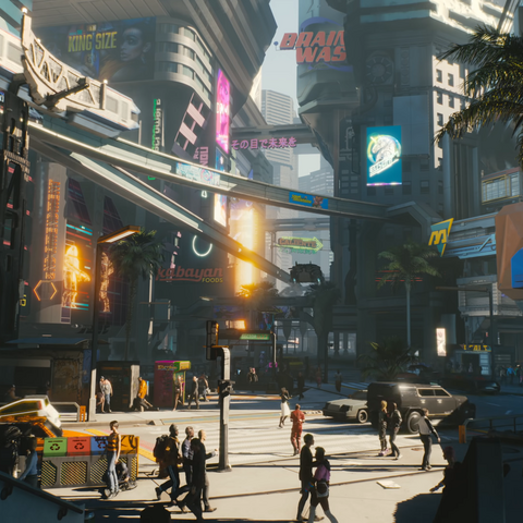NCPD (on the right) in Cyberpunk 2077