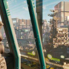 Widok na Night City z metra, kadr z trailera z E3 2018
