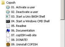 CopSSH Shortcuts on Windows