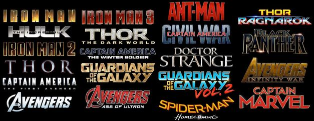 Logos of most films (past and future) in the Marvel Cinematic Universe