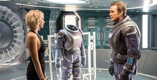 passengers jennifer lawrence and chris pratt on a spaceship