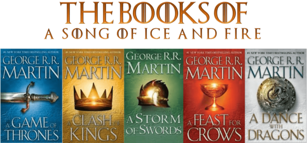Book covers of the Game of Thrones series A Song of Ice and Fire