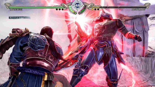 Mitsurugi hits Nightmare with a Reversal Edge
