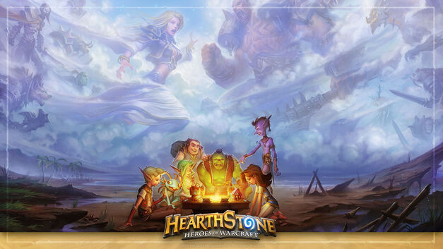 Alternate Hearthstone art with heroes in the sky
