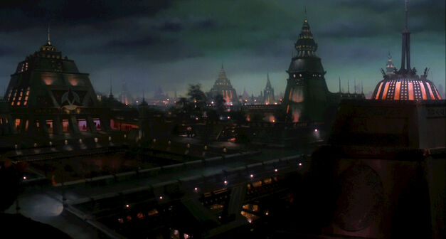 kronos or Qonnos Klingon Empire capital city at night