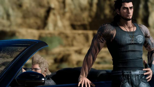 Gladiolus chilling in his tank top in Final Fantasy XV
