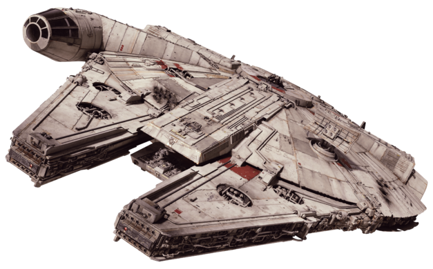 The Millennium Falcon as she appears in The Force Awakens