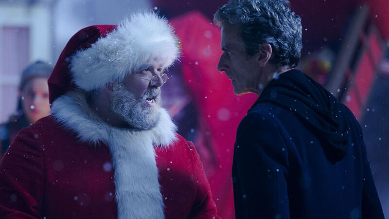 twelfth doctor peter capaldi and santa yelling at each other doctor who